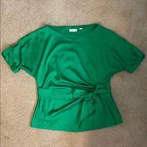 Kelly green satin New York & Company blouse